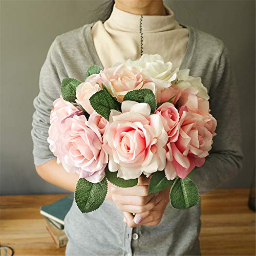 Bunches of Artificial Roses, Artificial Roses Flowers Artificial Bridal Bouquets,Used for Wedding Decoration, Wedding Party Album Decoration & Garden Decoration DIY Craft Project(Multicolor )