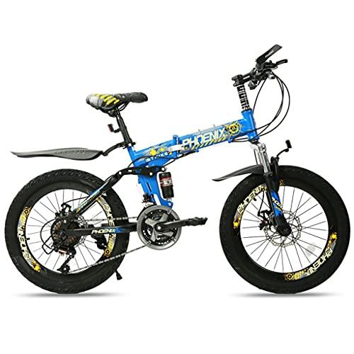 ZXQZ Bicicleta de Montaña Plegable de 20 '', Bicicleta Ligera Portátil para Adultos de 21 Velocidades con Doble Absorción de Impactos