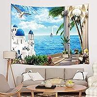 FJTP ウォールタペストリー 朝 地中海 ギリシャ さまよえる おしゃれなタペストリー 壁掛け 大学 寮 ホームデコレーション