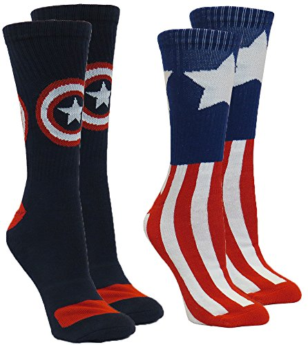 Marvel Captain America Men s Athletic Crew Socks, 2-Pair Pack, Sock Size 10-13   Shoe Size 6-12
