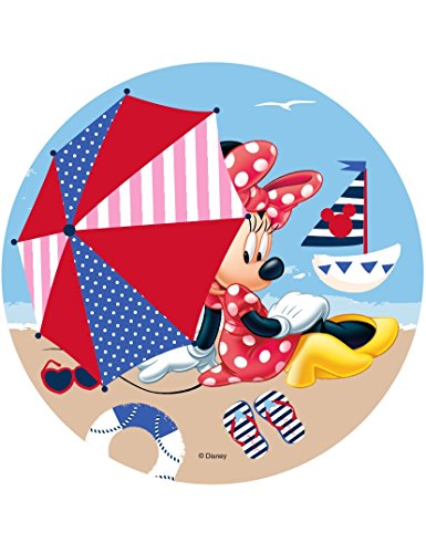 COOLMP Lot de 3 - Disque en Azyme Minnie Minnie à la Plage 21 cm - Taille Unique - Décoration et Accessoires de fête, Animation, Anniversaire, Mariage, Petit Jouet, Ballon