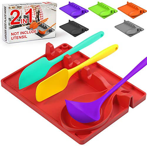 Forc Silicone Spoon Rest 2 in 1 Larger Size Silicone Spoon Holder for Stove Top, Upgraded Utensil Rest with Drip Pad Include 5 Slots & 1 Spoon Holder, Easy to Clean, Hang Hole Design, Red