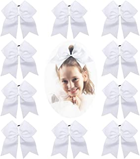 CN Girls Cheerl Hair Bow Large Ponytail Holder for Cheerleading Girl Pack of 10, White