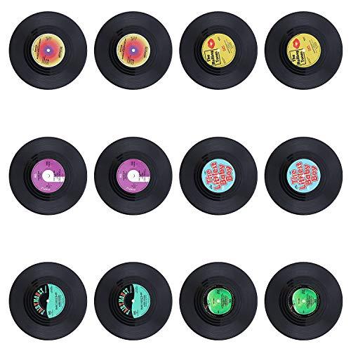 Coolty 12 Pezzi Rotonda Vintage CD Vinyl Record Sottobicchieri, Anti-Heat/Slip Sottobicchieri per Caffè tè Boccale di Birra Vino in Vetro casa e Bar, 10*10*0.2cm (Stile D)