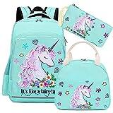 Girls Backpack for Kids Elementary Bookbag Girly School bag Children Laptop Bag (Water Blue - 3 pieces)