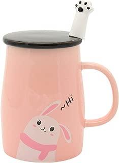 JANTONOR Pink Bunny Mug, Cute Rabbit Ceramic Coffee Mug with Spoon and Lid, Novelty Coffee Mug Gift for Bunny Lovers