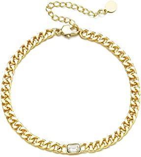 W WOOGGE 14K Gold Plated Bracelets Zirconia Solitaire Cubic Chain Bracelet Gold Bracelets for Women Bridesmaid Accessory