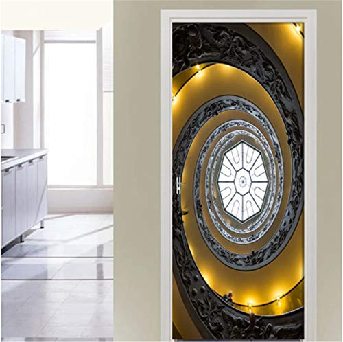 JIMI MAKER Etiqueta de la Pared de la Puerta Pegatinas de Puerta 3D Techo del Palacio Papel Tapiz Autoadhesivo decoración del hogar Cartel de simulación 90 * 200 cm