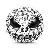 Gnoce 'Cráneo Jack' Abalorio Charms De Mujer De Ley 925 Plata Esterlina Abalorios Con Cubic Zirconia para Halloween Compatible con Pulsera o collar