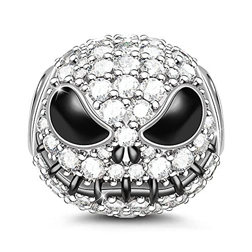 Gnoce Petit Monstre Charms Pendentifs Femme Homme Perles Noir Plaqué Argent Sterling S925 Breloques Perles avec Oxyde de Zirconium Compatible avec Bracelets et Colliers (1Argent)