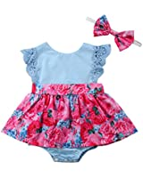 Big Little Sister Floral Matching Clothing Lace Ruffle Sleeve Romper Dress Outfit Clothes (0-6 Months, Little Sister Romper) (0-6 Months, Little Sister Dress)