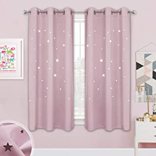 NICETOWN Children Window Darkening Curtains - Bedroom Star Cutouts Starry Night Magical Drape Panels for Girl's Princess Themed Rooms/Nursery Room (Lavender Pink, 42-inch X 63 inches, 2 Pieces)