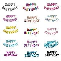 誕生日 飾り付け 風船セット happy birthday 英文字 16インチ 風船セット 15種類  (happy birthday set ゴールドピンク)