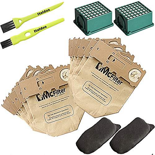 Italdos Kit de Bolsa para Aspiradora Vorwerk Kobold VK130 VK131-12 Bolsas + 2 Filtros de Motor + 2 Filtros HEPA + 12 parafumes + 2 Cepillos