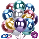 Konsait 62pcs 12Inches Flash Metallic Balloons Latex Confetti Balloons Purple Silver Blue Helium Balloons Party Supplies for Broadway Bachelorette 70s 80s Space Ocean Sea Birthday New years Decoration