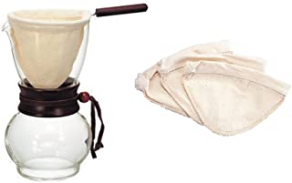 Hario Drip Pot Woodneck and 3 Extra Filters (for a total of 4 filters)