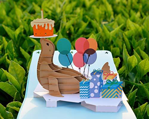 CUTPOPUP Happy Birthday Seal Pop Up Greeting Card for Children, Son, Nephew, Niece, Kids,Teenager- Artistic Design, High Handmade Skills -Wonderful Birthday Gift - Includes elegant envelope