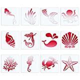 CINPIUK 12PCS Sea Creatures Stencils 5 Inch Seashell Mermaid Starfish Coral Painting Templates DIY Art Crafts Scrabooking Cardmaking