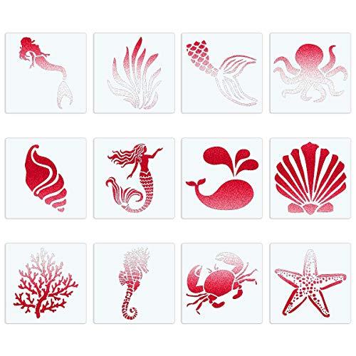 CINPIUK 12PCS Sea Creatures Stencils 5 Inch Seashell Mermaid Starfish Coral Painting Templates DIY Art Crafts Scrabooking Cardmaking