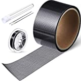 4 Pieces Fiberglass Mesh Patch Window Screen Repair Kit Including Strong Adhesive Door Window Screen Patch Waterproof Wire Mesh Repair Tape with Thread and Needle for Repair Hole Tear (2 x 79.4 Inch)