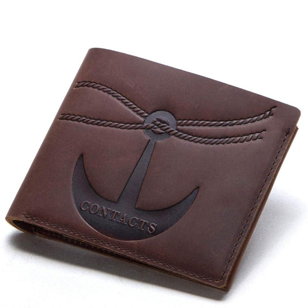 掘る使役迅速ヴィンテージクレイジーホースレザーウォレットリベットデコレーションショート二つ折りレザーメンズ財布