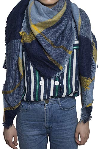 Yidarton Schal Damen Karo Schal übergroßer Winterschal XXL Damen Schal mit Karo Streifen Plaid Muster Quadratisch Deckenschal