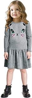 Anself New Baby Girls Kids Dress Cotton Cartoon Cat Print Dropped Waist Solid O Neck Long Sleeves Cute Children Princess D...