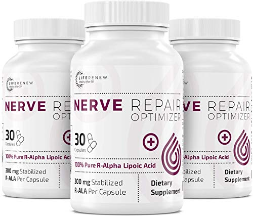 Life Renew: Nerve Repair Optimizer – 30 Capsules - 300 mg Stabilized R-Alpha Lipoic Acid per Capsule for Natural Nerve Pain Relief – Fast Absorption – Safe and All Natural - 3 Pack