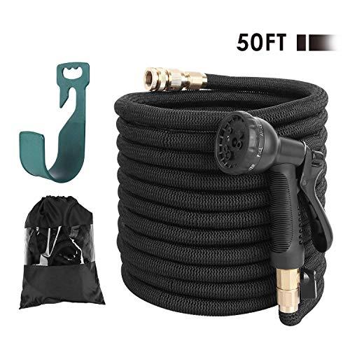 FIXKIT Tuyau d'arrosage Tuyau Flexible Tuyau d'eau Tuyau Extensible à 8 Fonctions Elastique Flexible pour Irrigation et Nettoyage du Jardin Noir (15m)