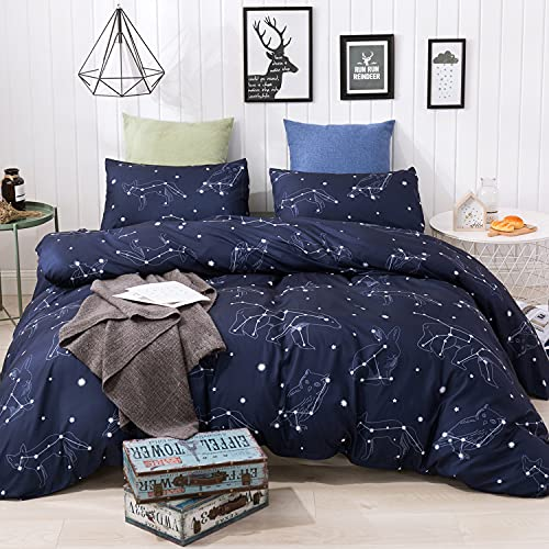 Comfort Hub Kids' Duvet Cover Sets Twin Size 2 Pcs (1 Duvet Cover with YKK Zipper and Ties+1 Pillow...