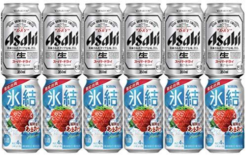 ビール&氷結セット! アサヒスーパードライ350ml 6本 + キリン氷結 福岡産あまおう350ml 6本