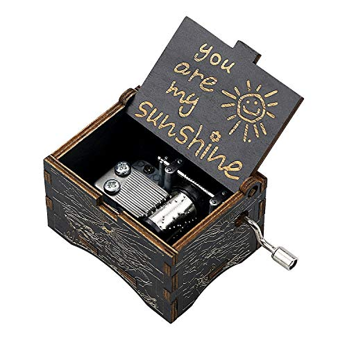 uwows Vintage Holz Handkurbel Spieluhr Sie sind Mein Sonnenschein Geschenk für Familienliebhaber Geburtstag/Weihnachten/Valentinstag (Black-You Are My Sunshine)