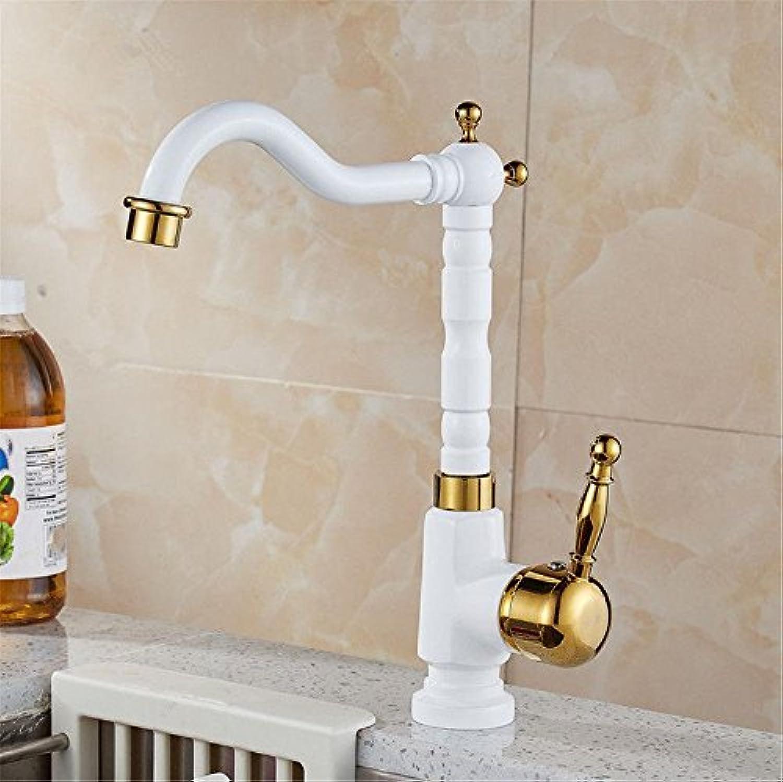 MNLMJ Moderne einfache kupferne heie und kalte Wasserhhne Küchenarmatur Volle Kupferfarbe heie und kalte High-End-Wasserhahn kann gedreht Werden Geeignet für alle Badezimmer-