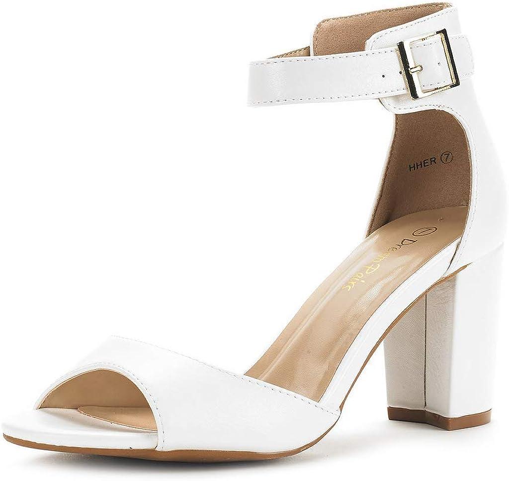 DREAM PAIRS Women's HHER Low Heel Pump Sandals