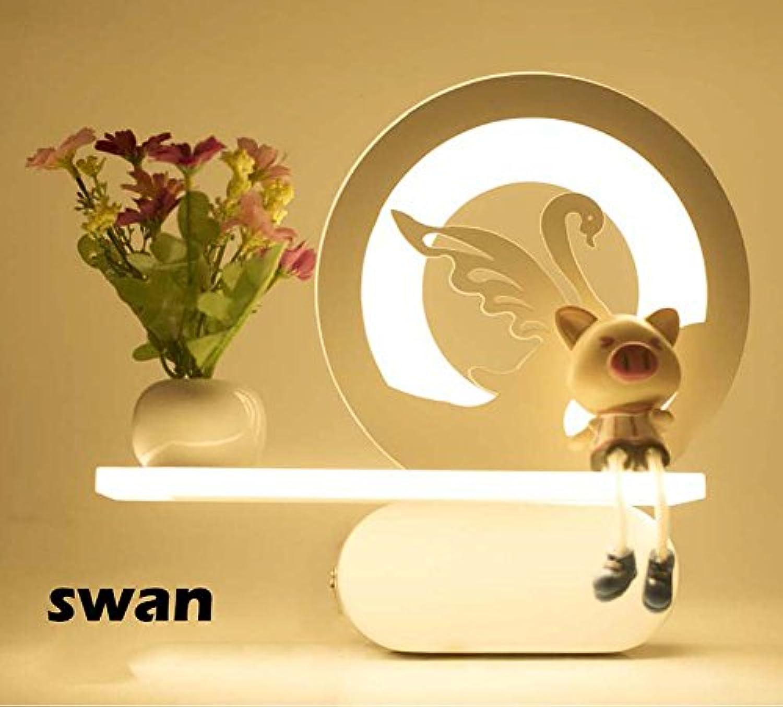 Onfly LED Wandleuchte Moderne minimalistische Schlafzimmer Nachttischlampen Creative Wohnzimmer Studie Korridor Indoor Home Hotel Beleuchtung Dekoration Lampen Moderne Beleuchtung (Farbe   Swan)