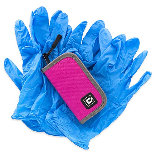 Gloves Travel case with 5 Pairs of Nitrile Gloves (Pink)