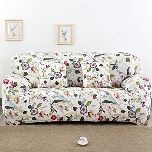 PPOS Funda de sofá elástica Universal, sofá seccional, sillón, Funda de Muebles, Flores, pájaros, Hojas A16, 3 Asientos, 190-230cm-1pc