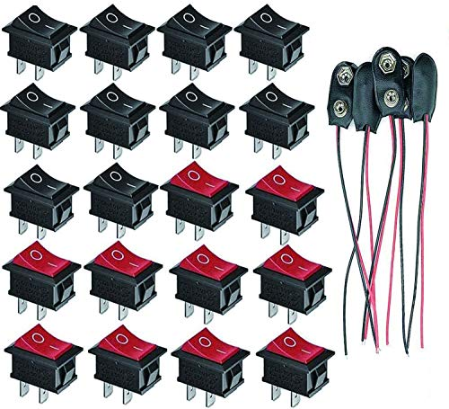 VISSQH Mini Interruttore a Bilanciere, Interruttore a Bilanciere 12V, 2 Pins SPST Pulsante Interruttore a Bilanciere 6A/250V 10A/125V AC per Auto, Barca, Elettrodomestici +Connettore Batteria 9V