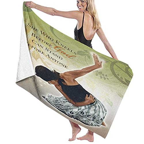 ZORMIEY Sand Towel,Bath Towel,Green She Who Kneels, Quick-Drying, high Absorption, Light and Soft Bath Towels, Swimming Baths, Camping, Yoga, Fitness, Household Bath Towels