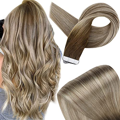 Fshine 14 Inch PU Tape In Human Hair Extensions 20 Pieces 50 Gram Tape...