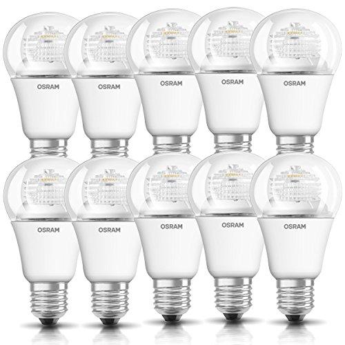 10 x Osram LED Star Leuchtmittel Classic A 5W = 40W E27 klar warmweiß 2700K