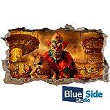Sticker mural 3D Motif clown avec poupée, 125cm x 69cm