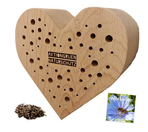 aktiongruen Geschenk-Idee! Wildbienen Nisthilfe in Herz-Form mit Infoheft und Saatguttütchen