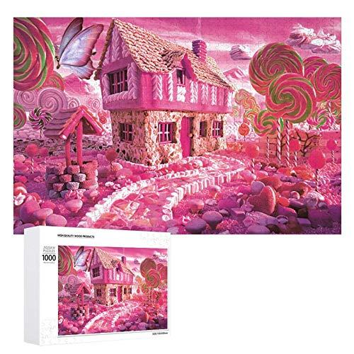 Puzzles 500 Stück für Erwachsene, Candy House Pink Butterfly Dicke Puzzles, große hölzerne herausfordernde Puzzlespiele Spielzeug Kunstwerk für Home Wall Art Decor