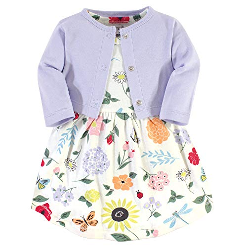 Touched by Nature Baby Girls Organic Cotton Dress and Cardigan Flutter Garden 1824 Months