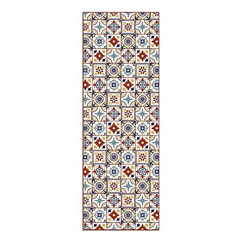 Alfombra Vinílica para Cocina, 200 x 70 cm, Baldosas de Colores, Fondo Beige, Alfombra de Vinilo Antideslizante y Lavable, Multiuso, ALV-038