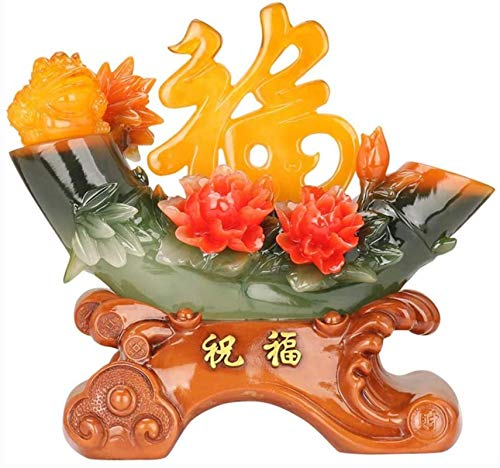 LULUDP-Decoración El dinero de la rana Estatua Chinese ornaments Riqueza Suerte Figurita Chinese ornaments Lucky Bamboo Bendición decoración del hogar Decoración Riqueza Protección estatua Manualidade