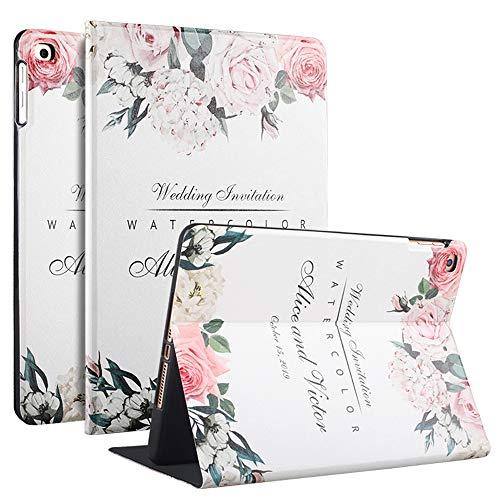 kenke Case for iPad 9.7 inch 2018/2017, iPad Air 2, iPad Air, Ultra Slim Lightweight Smart Cover Soft Silicone Cute Cartoon Pattern,Auto Sleep/Wake for iPad 5th/6th Generation iPad Air 2/1-Flower