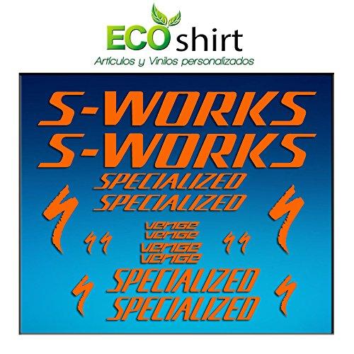 Ecoshirt LR-JB29-WEBJ Aufkleber Frame Sworks S-Works Venge Pro Vias Am31 Stickers Aufkleber Decals Adesivi Bike BTT MTB Cycle, Orange