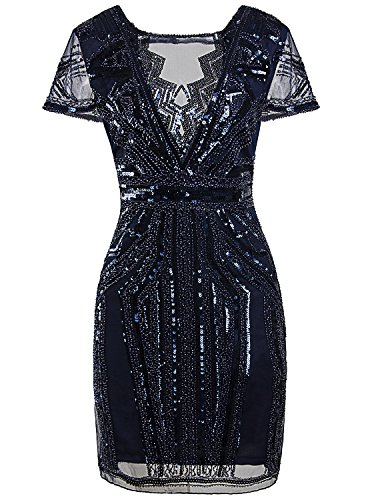 Vijiv 1920s Short Prom Dresses V Neck Inspired Sequins Cocktail Flapper Dress,Navy Blue,Large